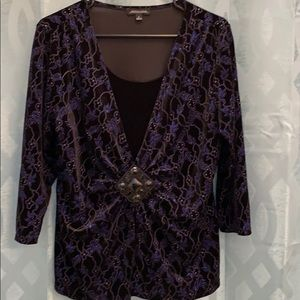 Notations women's 3/4 sleeve size Large bling top